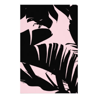 Black and Pink Tropical Banana Leaves Pattern Stationery