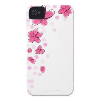 Black and Pink Watercolor Flower Polka Dot Sketch iPhone 4 Cases