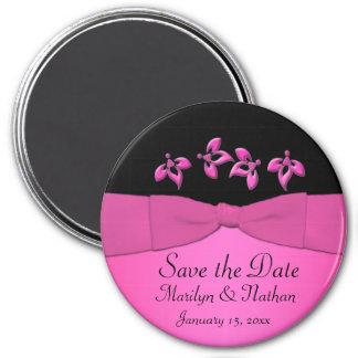 Black and Pink Wedding Favor Magnet