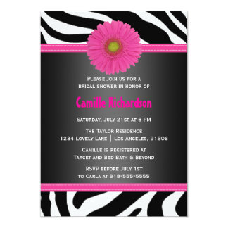 Black and Pink, Zebra Bridal Shower Invitation