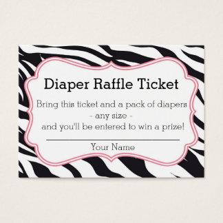 Black and Pink Zebra Diaper Raffle Ticket