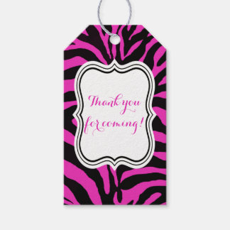Black and pink zebra jungle animal fashion modern gift tags