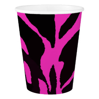 Black and pink zebra jungle animal fashion modern paper cup