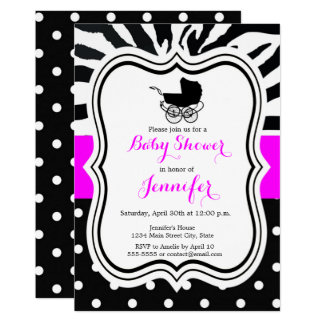 Black and pink zebra polka dot girl baby shower card