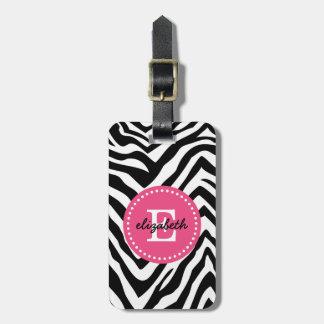 Black and Pink Zebra Print Custom Monogram Luggage Tag