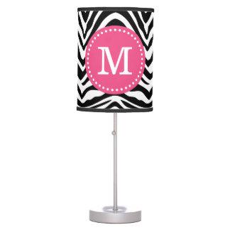 Black and Pink Zebra Print Custom Monogram Table Lamp