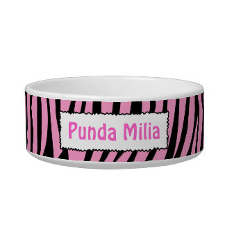 Black and Pink Zebra Stripes Personalized Pet Bowl