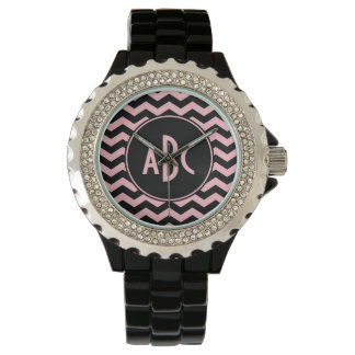 Black and Pink Zigzag Monogram Watch