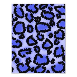 Black and Purple-Blue Leopard Print Pattern. Custom Invitations