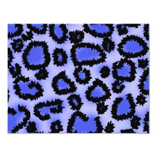 Black and Purple-Blue Leopard Print Pattern. Invitation
