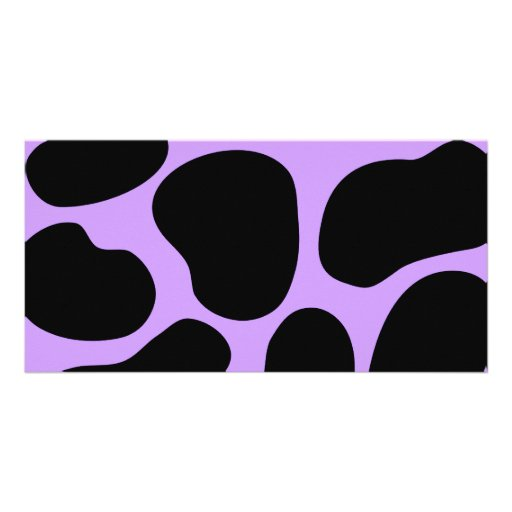 Black and Purple Cow Print Pattern. Photo Greeting Card
