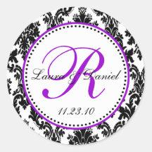 Black and Purple Damask Monogram Sticker