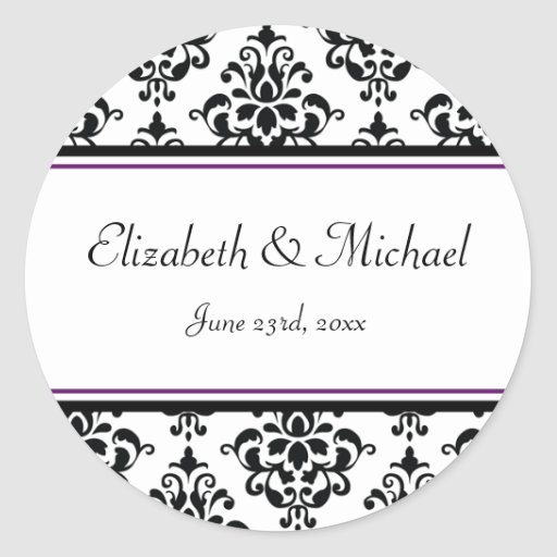 Black and Purple Damask Round Wedding Favor Label Stickers
