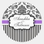 Black and Purple Damask Stripe Wedding Sticker