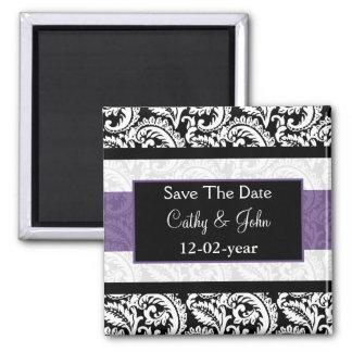 Black and Purple Damask Wedding Square Magnet