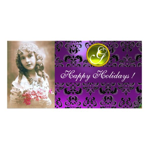 BLACK AND PURPLE DAMASK Yellow Topaz Monogram Picture Card