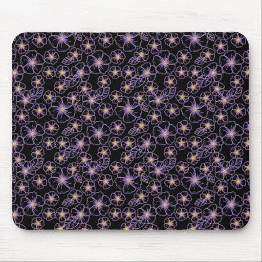 black and purple drawn flowers mousepads