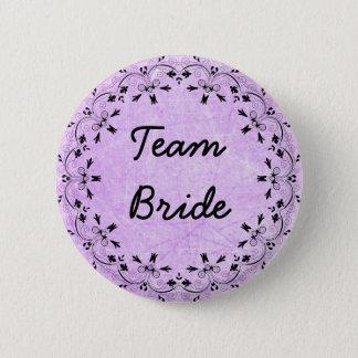 Black and Purple Fancy Team Bride Button