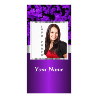 Black and purple floral damask template picture card