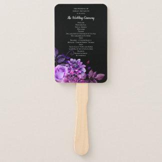 Black and purple flowers. Floral wedding program Hand Fan