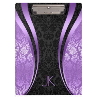 Black And purple Geometric Floral Damasks Clipboard