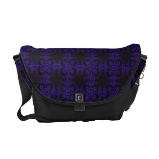Black and Purple Geometric Floral Pattern Messenger Bags