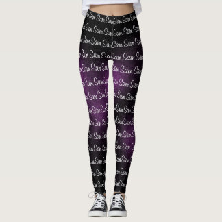 Black and Purple Goth Colors Your Name Pattern Leggings