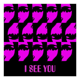 Black and Purple 'I See You' Popart Poster
