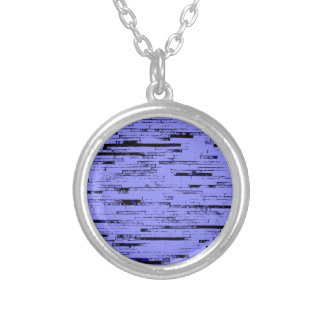 Black and purple lines art old wall bricks pattern silver plated necklace