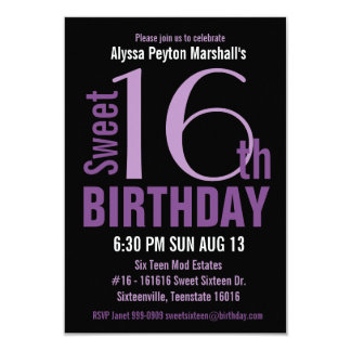 "Black and Purple Modern Text Sweet 16th Party 3.5"" X 5"" Invitation Card"
