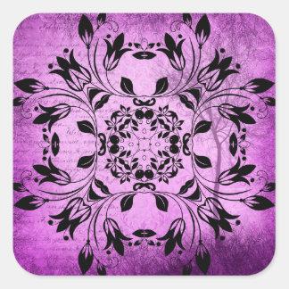 Black and Purple Mystical Mandala Abstract Sticker