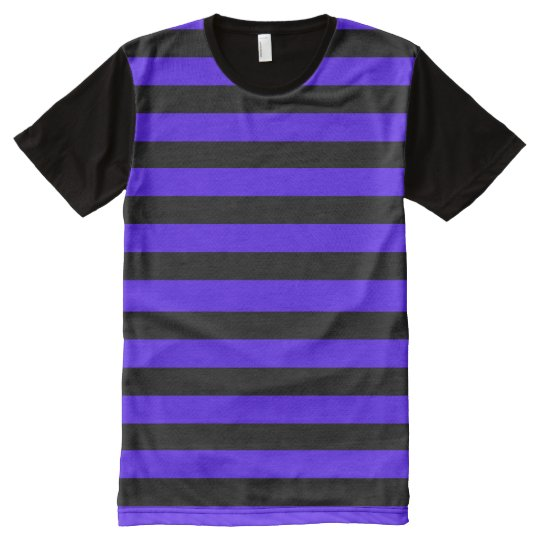 Black and Purple Striped All-Over-Print T-Shirt
