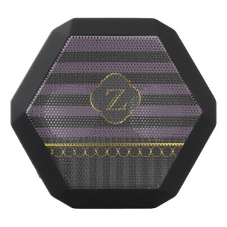 Black and purple stripes with gold black bluetooth speaker