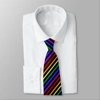 Black and Rainbow Stripes Tie