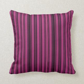 Black and Raspberry Coloured Stripe Throw Pillow