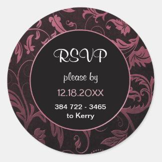 Black and Raspberry Pink Damask Wedding  - RSVP Round Sticker