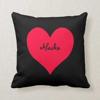 Black and Red Alaska Heart Throw Pillow