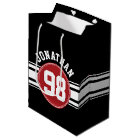 Black and Red Auto Racing Stripes Name Number Medium Gift Bag