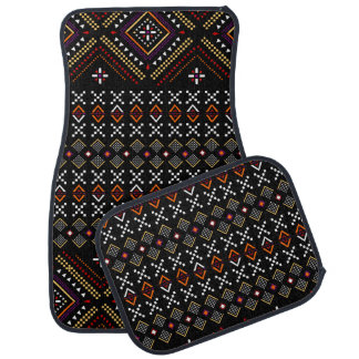 Black and Red Aztec Andes Tribal Pattern Car Mat