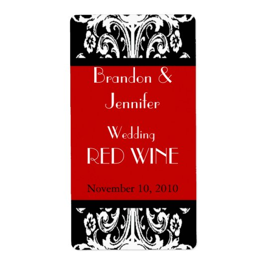Black and Red Baroque Wedding Mini Wine Labels