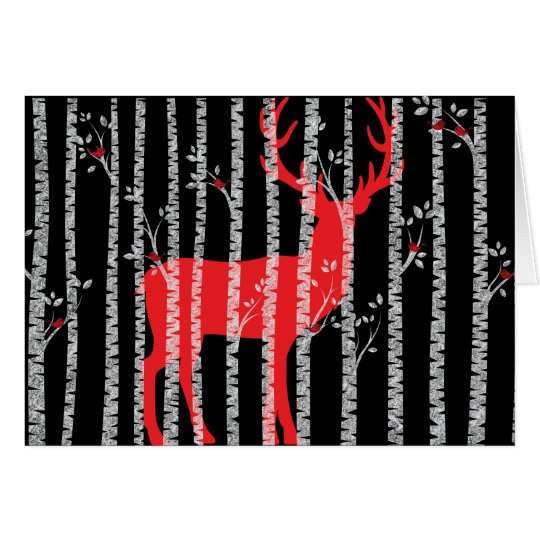 Black and Red Birch Tree Forest Greeting Card