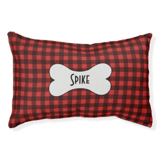 Black and Red Buffalo Check Pet Bed