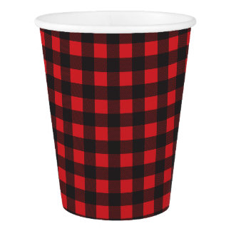 Black and Red Buffalo Check Plaid Paper Cup