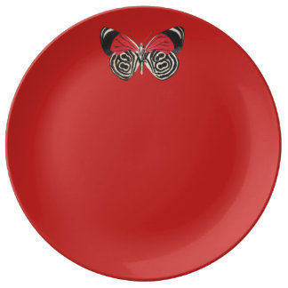 Black and Red Butterfly Plate