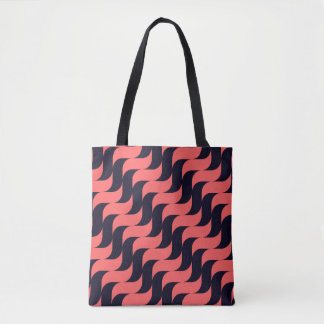Black and Red Cascading Waves Tote Bag