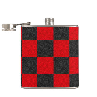 Black and Red Checkerboard Pattern Classic Flask