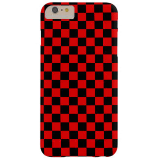 Black and Red Checkered Pattern Barely There iPhone 6 Plus Case