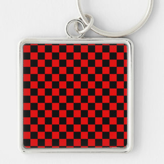 Black and Red Checkered Pattern Silver-Colored Square Keychain