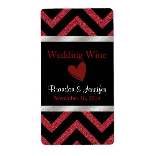 Black and Red Chevron Wedding Mini Wine Labels