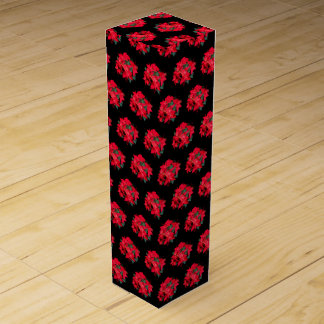 Black and Red Christmas poinsettia Wine Box